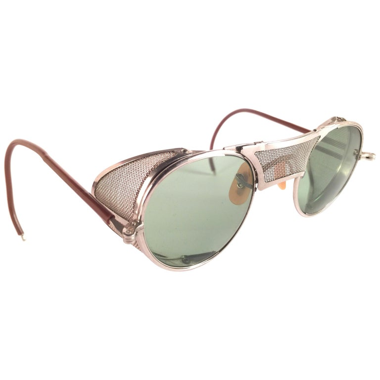 New Vintage Bausch & Lomb Goggles Steampunk 1950's Collectors Item Sunglasses  For Sale