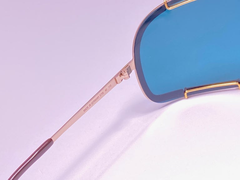 Women's or Men's New Vintage Boeing by Carrera Mono Mask Gold Turquoise Sunglasses Austria For Sale