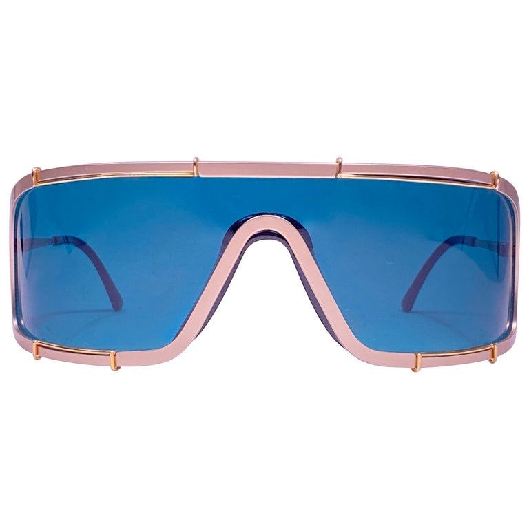 New Vintage Boeing by Carrera Mono Mask Gold Turquoise Sunglasses Austria For Sale