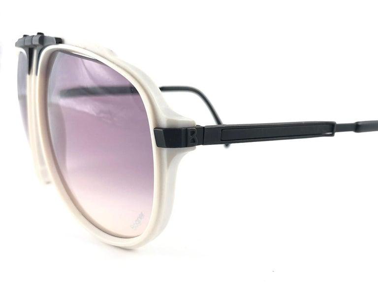 New Vintage Bogner 7003 90 Black & White James Bond Roger Moore 007 Sunglasses For Sale 6