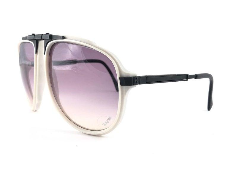 New Vintage Bogner 7003 90 Black & White James Bond Roger Moore 007 Sunglasses For Sale 7
