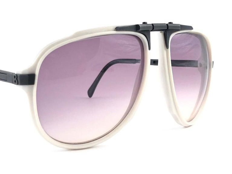 Men's New Vintage Bogner 7003 90 Black & White James Bond Roger Moore 007 Sunglasses For Sale