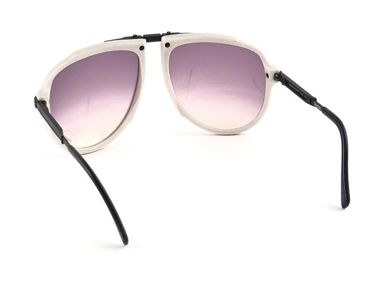 New Vintage Bogner 7003 90 Black & White James Bond Roger Moore 007 Sunglasses For Sale 1