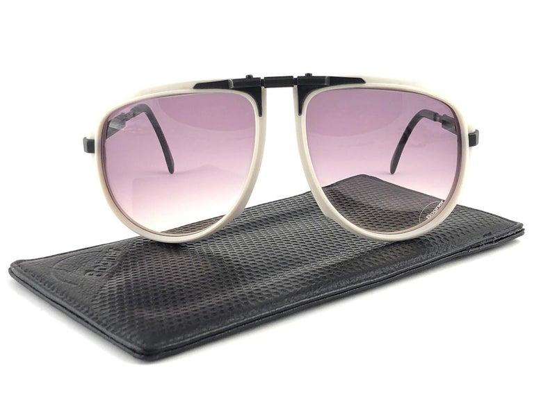 New Vintage Bogner 7003 90 Black & White James Bond Roger Moore 007 Sunglasses For Sale 2