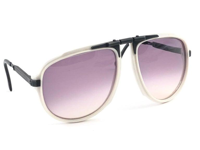 New Vintage Bogner 7003 90 Black & White James Bond Roger Moore 007 Sunglasses For Sale 3