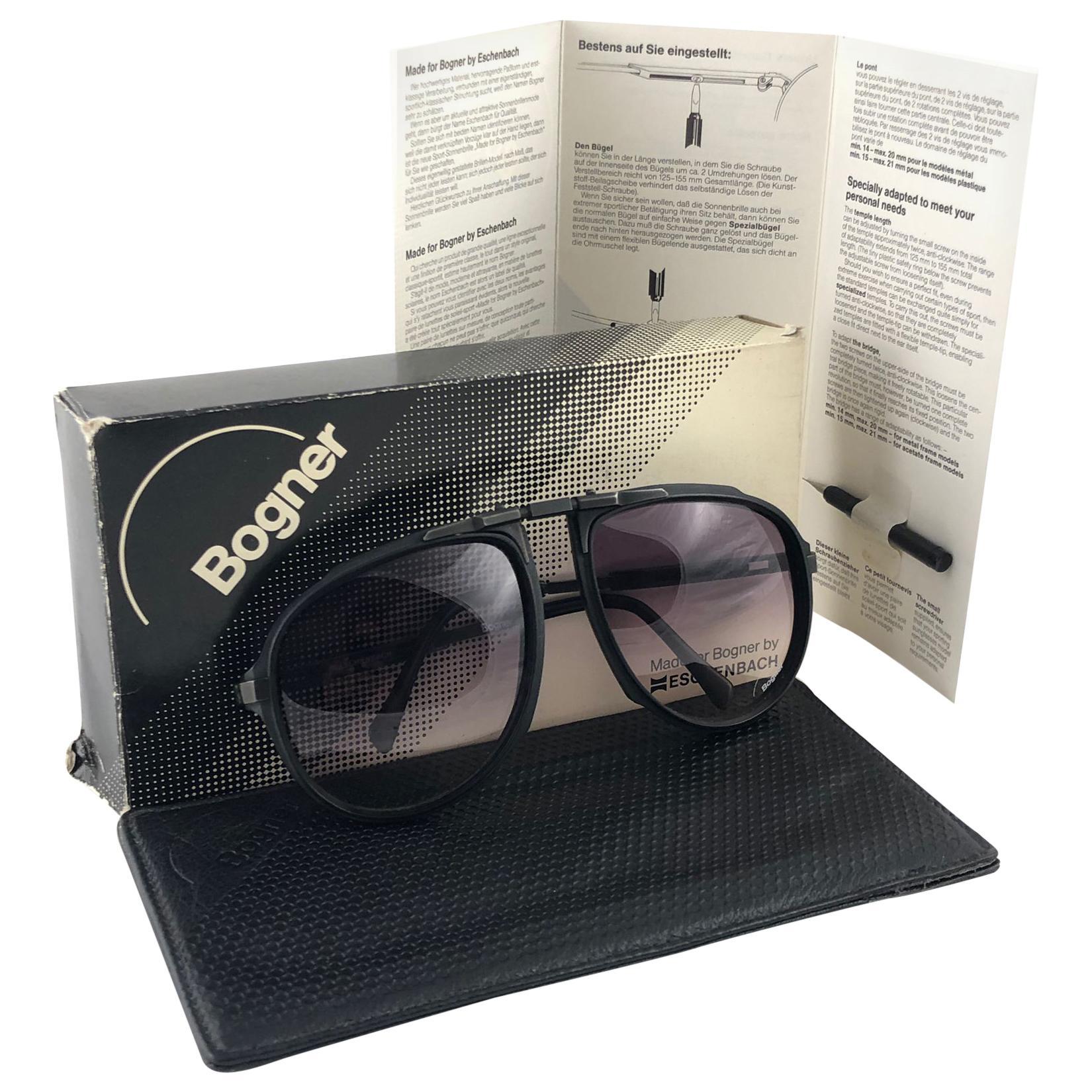 New Vintage Bogner 7003 Matte Black James Bond Roger Moore 007 Sunglasses