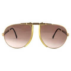 New Vintage Bogner By Eschenbach 7004 90 Gold Roger Moore 007 Sunglasses