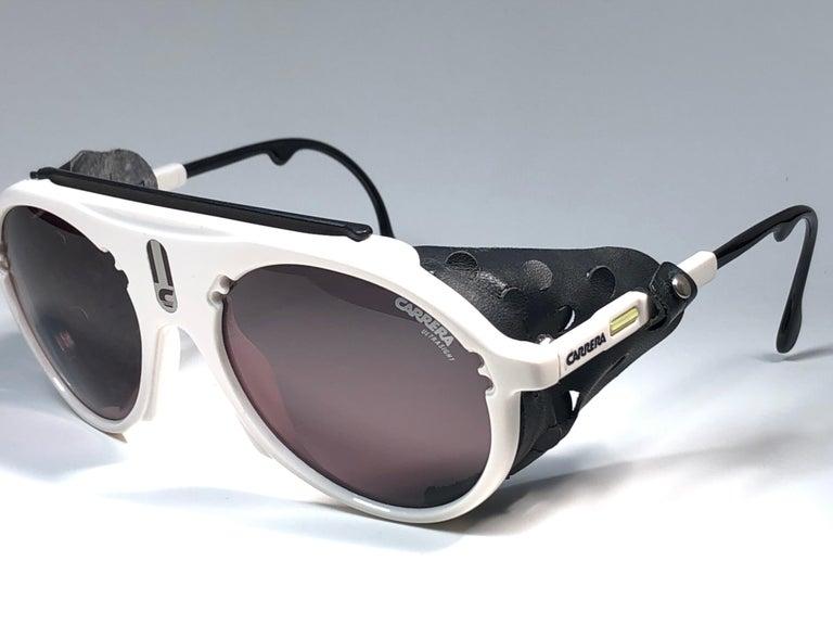 New Vintage Carrera Aviator 5436 White Ski Sunglasses Austria In New Condition For Sale In Amsterdam, Noord Holland
