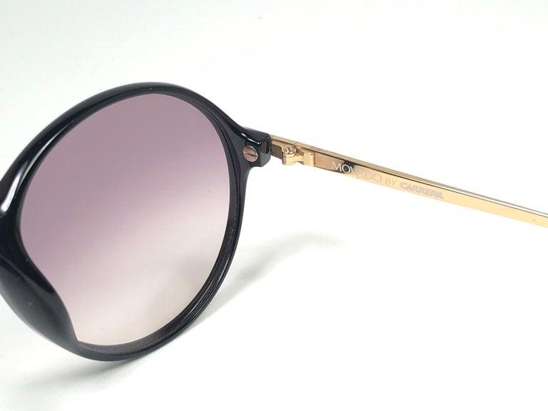New Vintage Carrera by Movado 5453 Black Sunglasses Austria 1980 For Sale 1