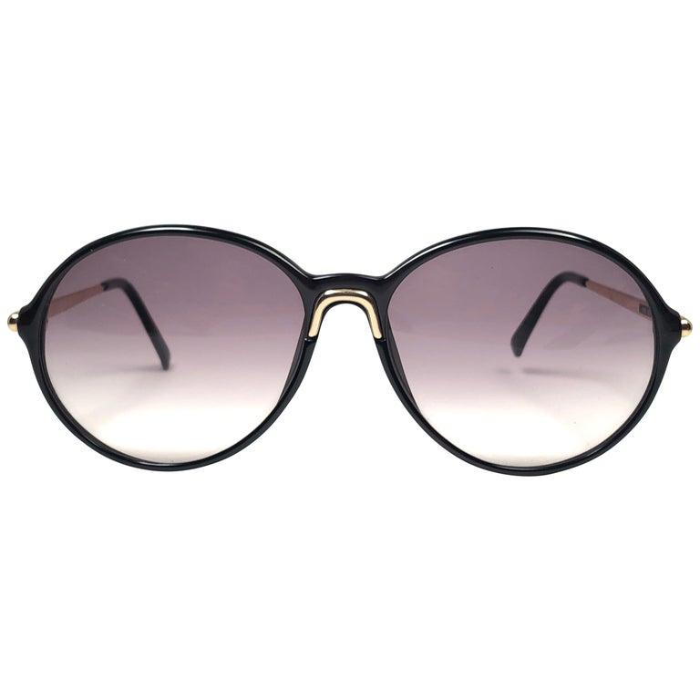 New Vintage Carrera by Movado 5453 Black Sunglasses Austria 1980 For Sale