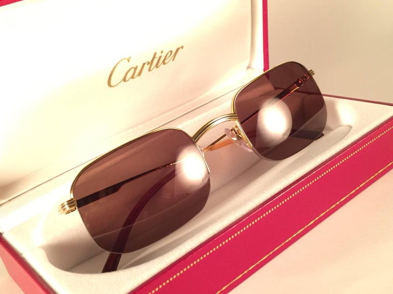 New Vintage Cartier Broadway Gold Plated 51 23 Half Frame France 1990 Sunglasses In New Condition For Sale In Amsterdam, Noord Holland