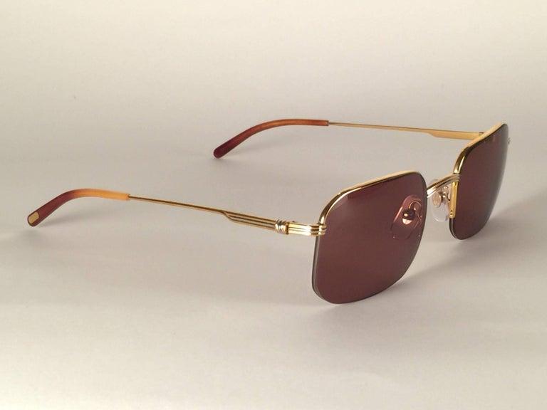 Women's or Men's New Vintage Cartier Broadway Gold Plated 51 23 Half Frame France 1990 Sunglasses For Sale