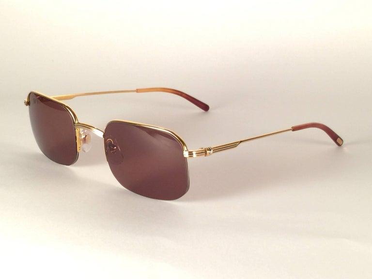 New Vintage Cartier Broadway Gold Plated 51 23 Half Frame France 1990 Sunglasses For Sale 1