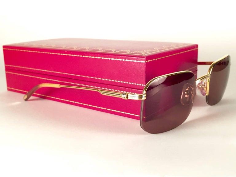 New Vintage Cartier Broadway Gold Plated 51 23 Half Frame France 1990 Sunglasses For Sale 2