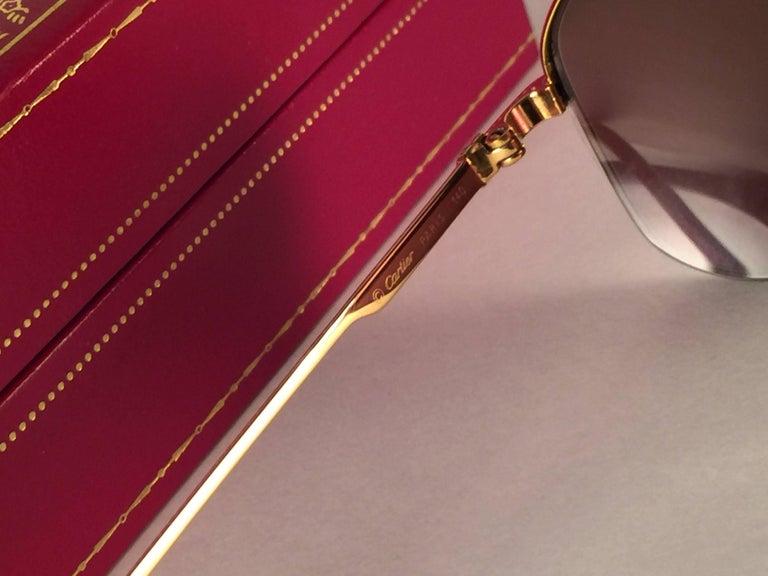 New Vintage Cartier Broadway Gold Plated 51 23 Half Frame France 1990 Sunglasses For Sale 3