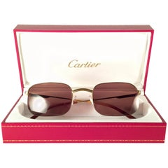 New Vintage Cartier Broadway Gold Plated 51 23 Half Frame France 1990 Sunglasses