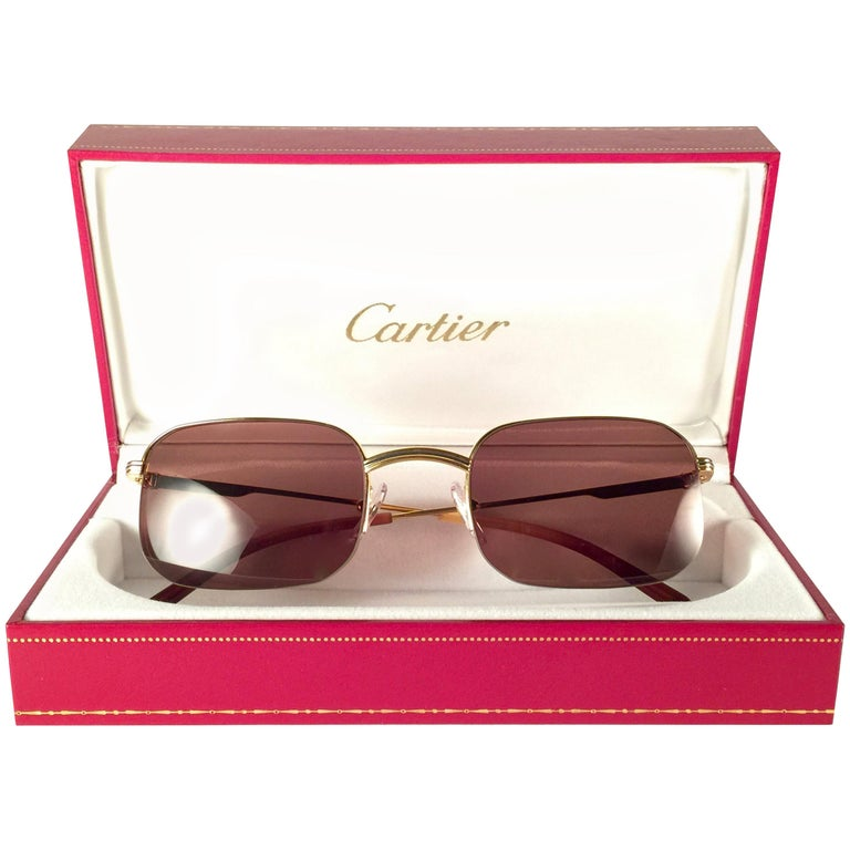 New Vintage Cartier Broadway Gold Plated 51 23 Half Frame France 1990 Sunglasses For Sale