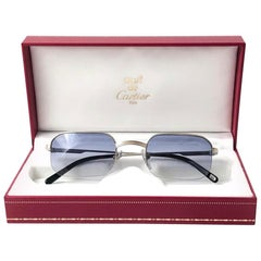 New Vintage Cartier Broadway Platine 49 22 Half Frame France 1990 Sunglasses