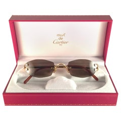 3234f753ae New Vintage Cartier Capri Gold 49mm Rimless Brown Lens France Sunglasses