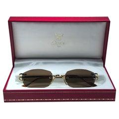 New Vintage Cartier Capri Gold Plated 18K Rimless Brown Lens France Sunglasses