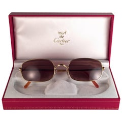 New Vintage Cartier Deimios Gold Plated Solid Brown Lens France 1990 Sunglasses
