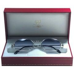 New Vintage Cartier Deimios Platine Solid Blue Lens France 1990 Sunglasses