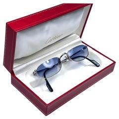 New Vintage Cartier Demilune Platine Half Frame Medium Reading France Sunglasses