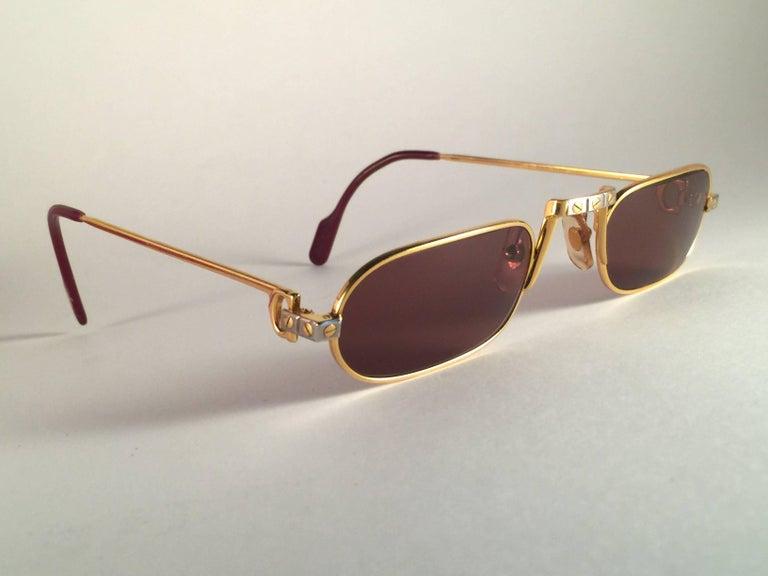 feb3edf8a8c9 Beige New Vintage Cartier Demilune Santos Medium 50mm Reading France  Sunglasses For Sale