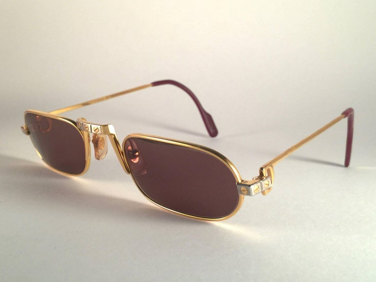 a3fdcc30db51 New Vintage Cartier Demilune Santos Medium 50mm Reading France Sunglasses  In New Condition For Sale In