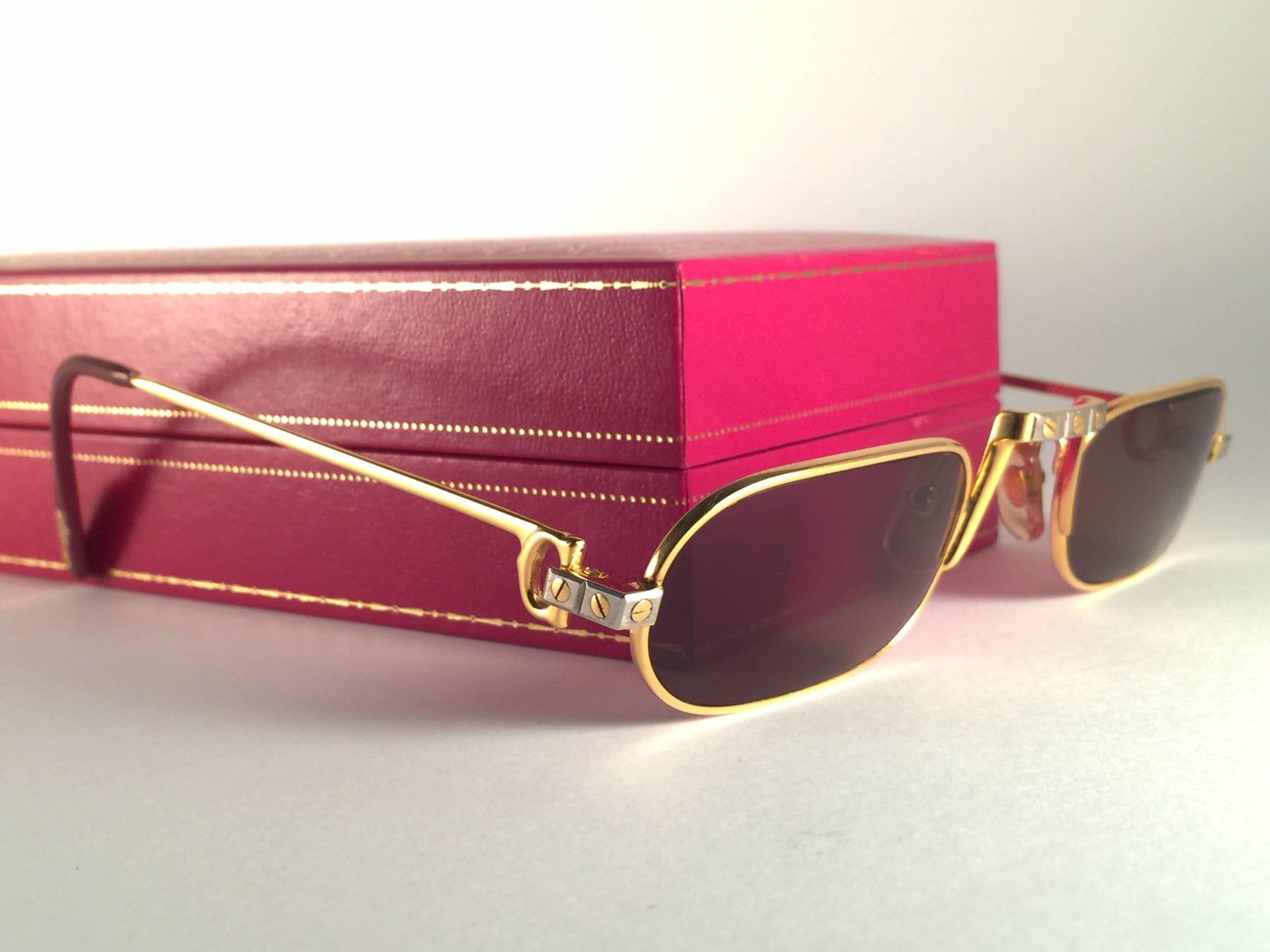 882ddd903292 New Vintage Cartier Demilune Santos Medium 50mm Reading France Sunglasses  For Sale at 1stdibs