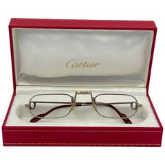 New Vintage Cartier Demilune Santos Platine 50mm Reading France Sunglasses