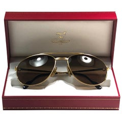 New Vintage Cartier Driver Gold Plated 54 Small Size 1990 Sunglasses