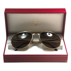 New Vintage Cartier Driver Gold Plated 60 Frame France 1990 Sunglasses
