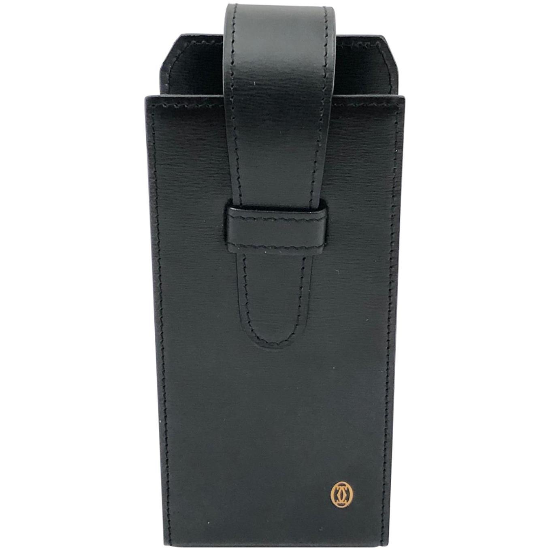 New Vintage Cartier Etui Sunglasses Case Gold & Genuine Black Leather