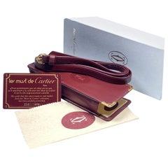 New Vintage Cartier Etui Sunglasses Case Gold & Genuine Leather