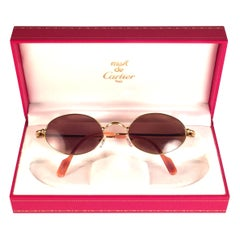 New Vintage Cartier Filao 49 Gold Plated Solid Brown Lens France 1990 Sunglasses