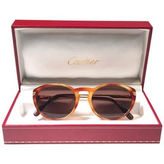 New Vintage Cartier Jaspe Blond 50 [] 18 Sunglasses Brown France 18k Gold 1991