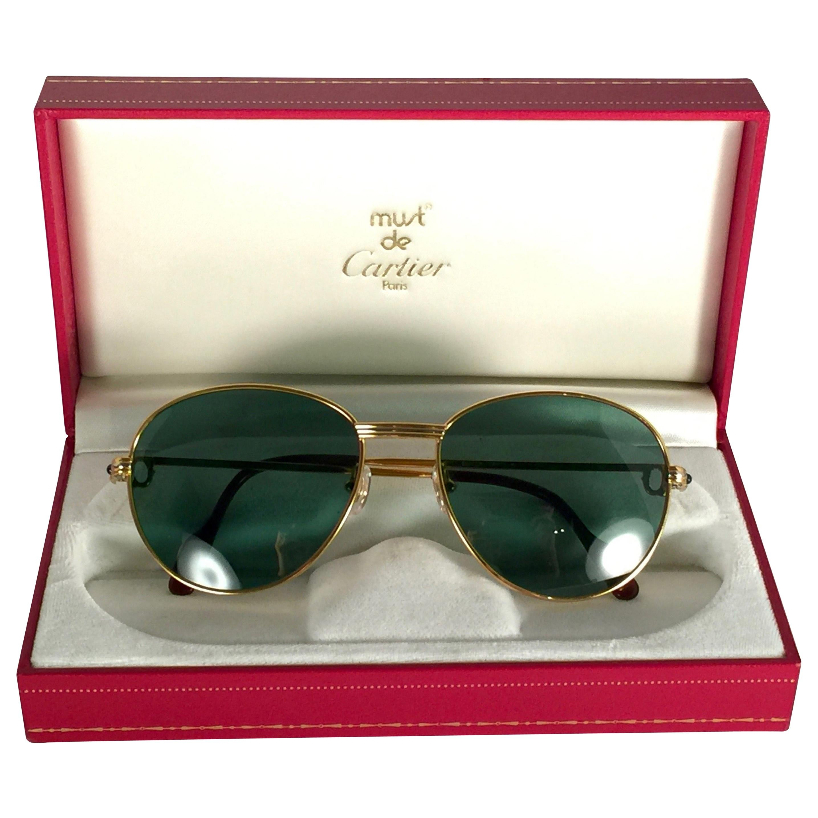 New Vintage Cartier Louis Sapphire 55mm Grey Sunglasses Heavy Gold Plated 18k