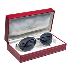 New Vintage Cartier Paly 56MM Platine Rimless Grey Lens Case France Sunglasses