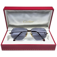 New Vintage Cartier Panthere 56mm Platine Sunglasses France 18k Heavy Plated
