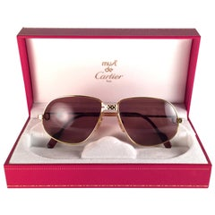 New Vintage Cartier Panthere 59mm Medium Sunglasses France 18k Gold Heavy Plated