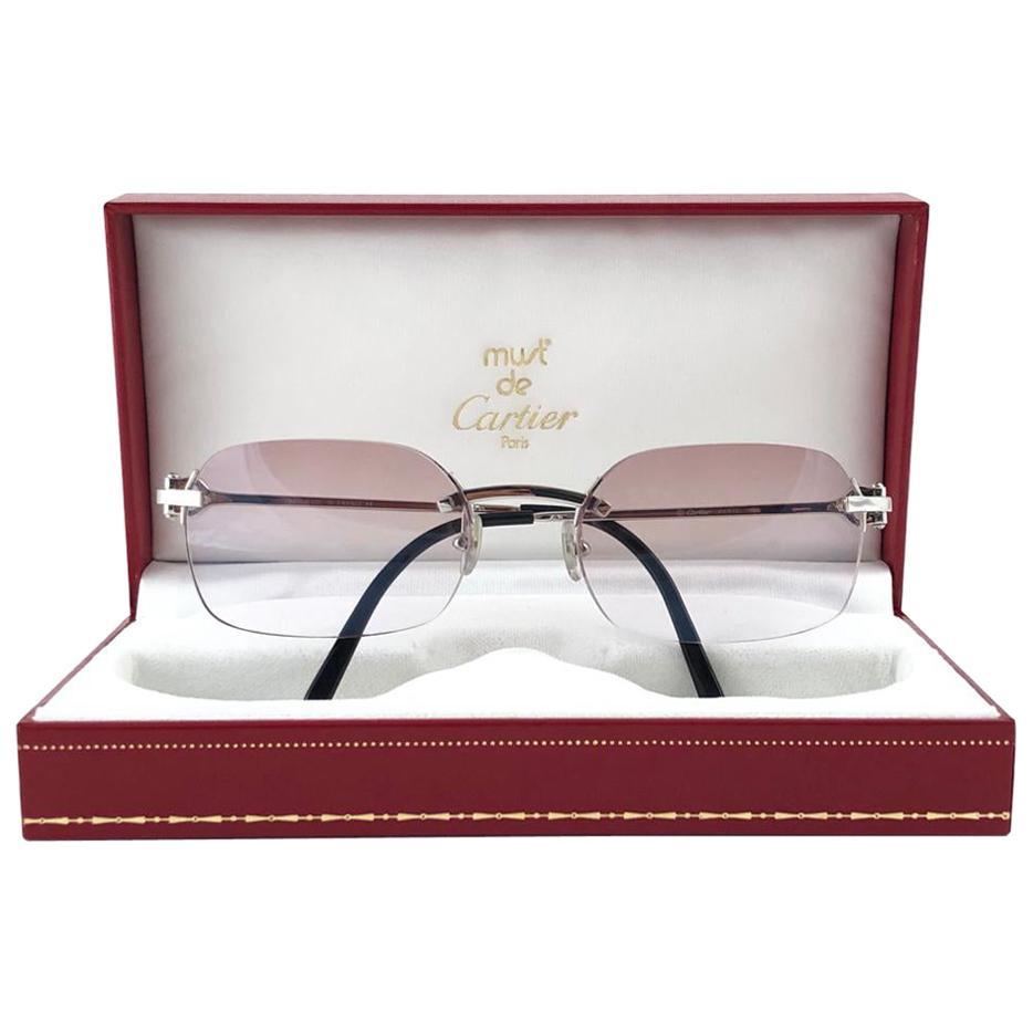 New Vintage Cartier Platine Rimless Gradient Lens Case France Sunglasses