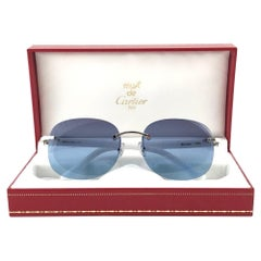 New Vintage Cartier Platine Rimless Mother of Pearl Grey Lens France Sunglasses