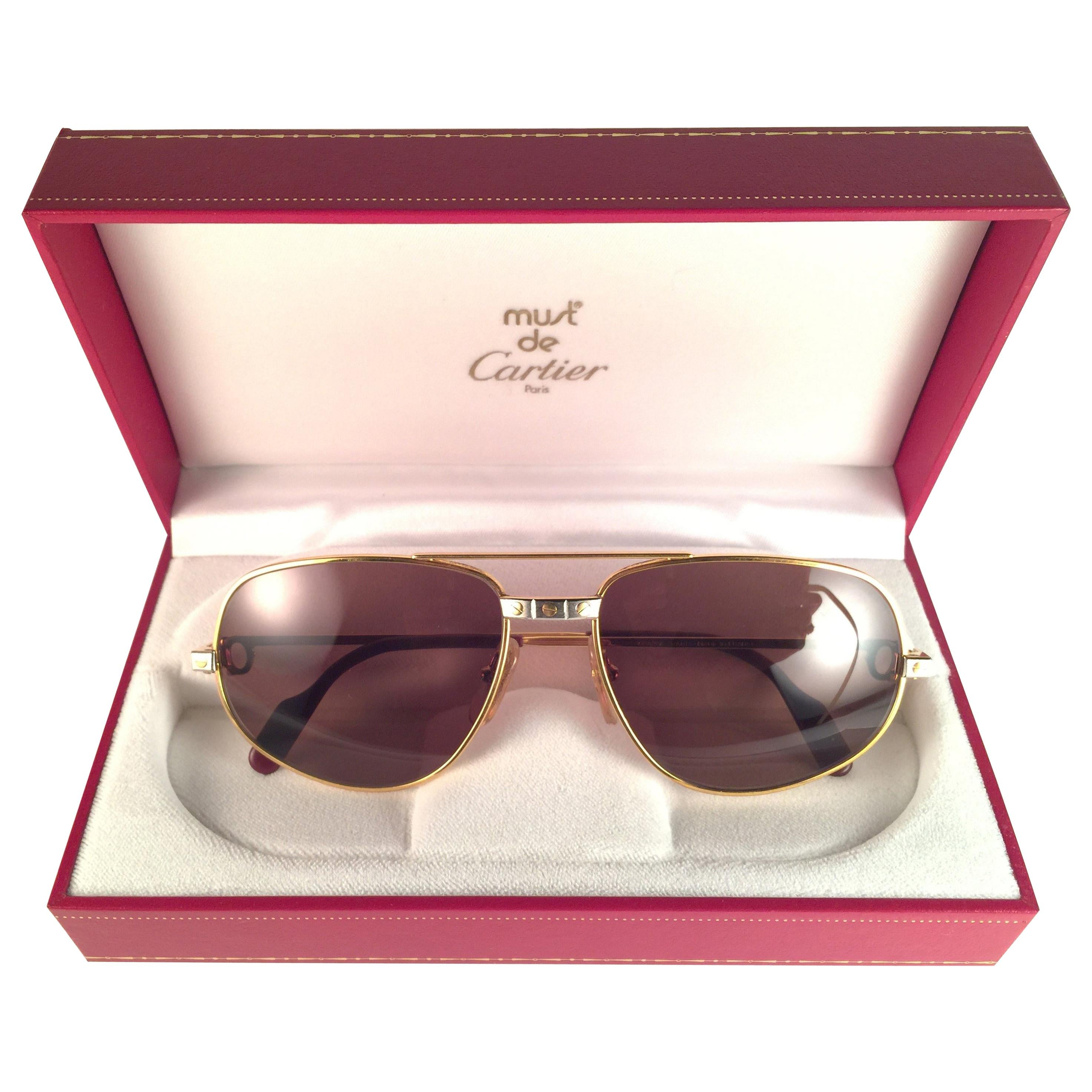 New Vintage Cartier Romance Santos 58MM France 18k Gold Plated Sunglasses