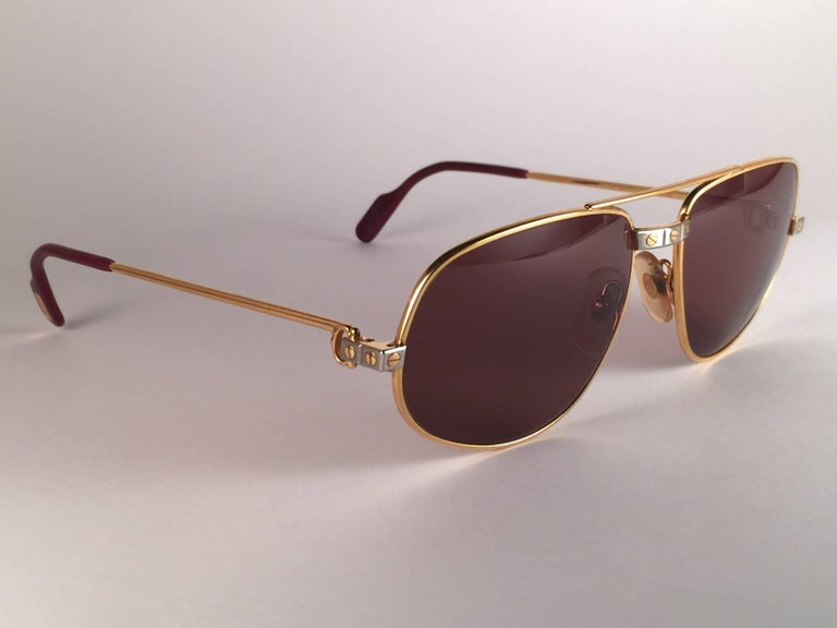New Vintage Cartier Romance Santos 61MM France 18k Gold Plated Sunglasses In New Condition For Sale In Amsterdam, Noord Holland