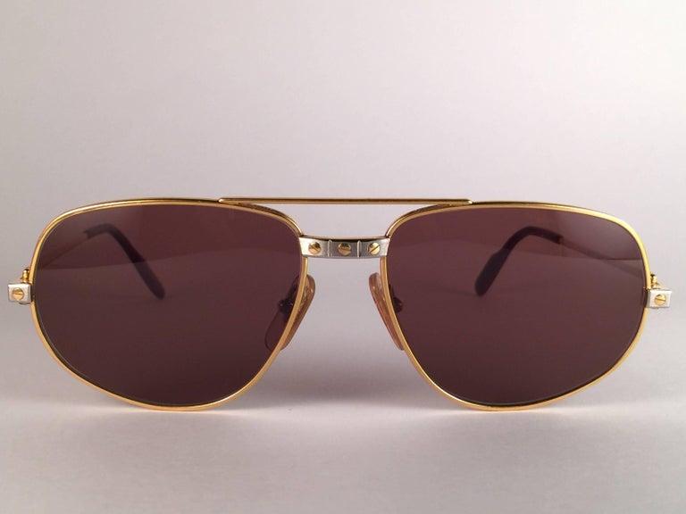 New Vintage Cartier Romance Santos 61MM France 18k Gold Plated Sunglasses For Sale 1