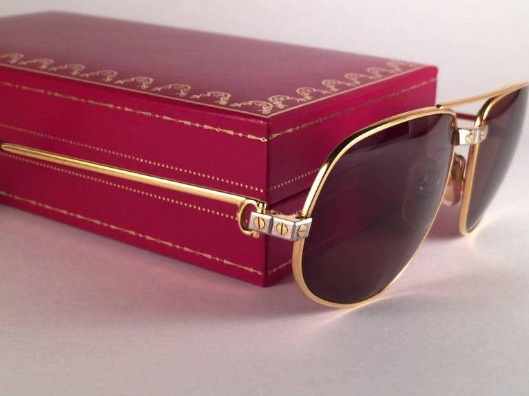 New Vintage Cartier Romance Santos 61MM France 18k Gold Plated Sunglasses For Sale 2