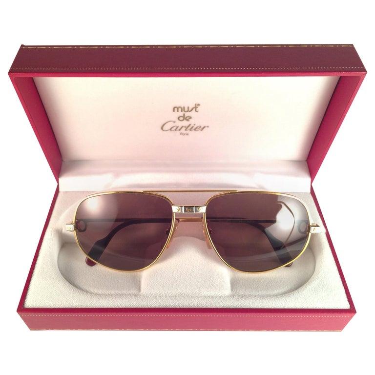 New Vintage Cartier Romance Santos 61MM France 18k Gold Plated Sunglasses For Sale