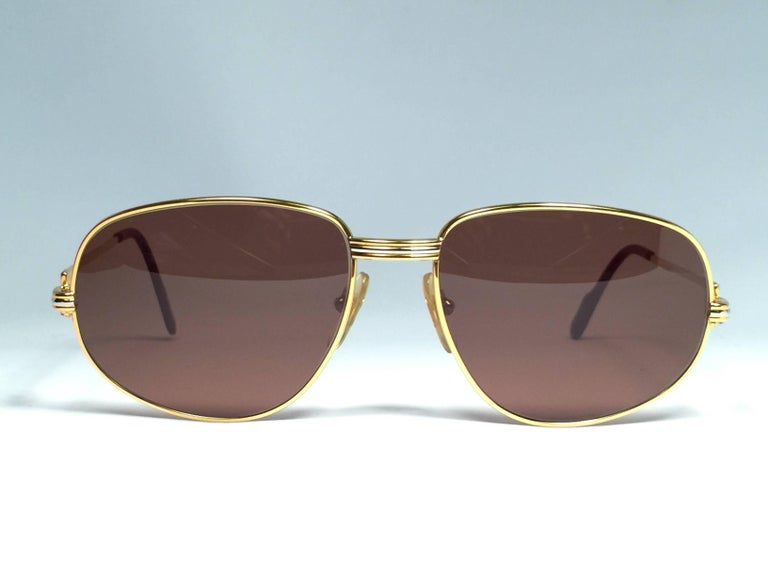 Brown New Vintage Cartier Romance Vendome 56MM France 18k Gold Plated Sunglasses For Sale
