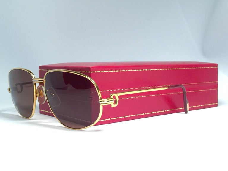 New Vintage Cartier Romance Vendome 56MM France 18k Gold Plated Sunglasses For Sale 1